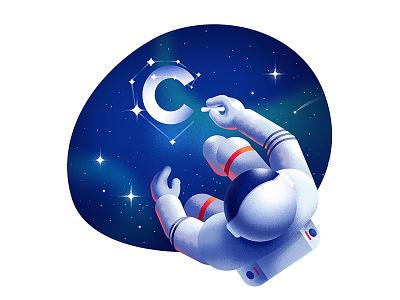 C in space 🌟 shape illustration gradient stars galaxy anano cuberto astronaut space texture dissolve
