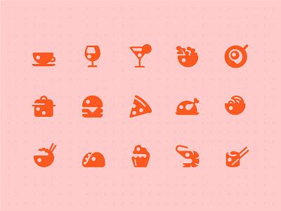 Restaurant Icon set pizza burger icon ui app menu food adobexd adobe icons pictogram