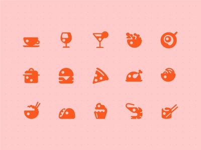 Restaurant Icon set pizza burger icon ui app menu food adobexd adobe icons pictogram