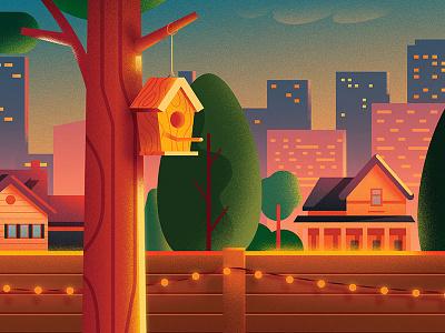 Backyard detail anano illustration warm cute skyline city home house tree backyard puzzle light