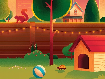 Backyard detail 2 anano illustration warm cute skyline city home house puzzle tree light yard