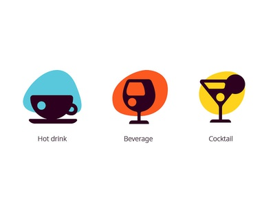 Stylized icons cocktail wine tea coffee drink xd adobe pictograms stains icons