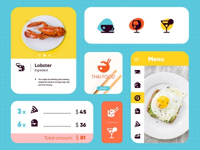 Restaurant Icon set UI pizza burger icon ui app menu food adobexd adobe icons pictogram