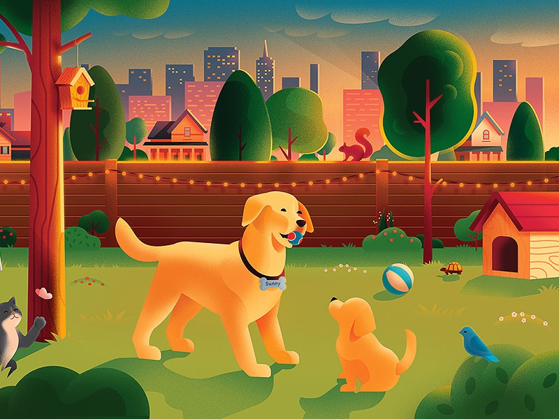 Pets in the city anano illustration warm cute skyline city home house treehouse tree puzzle garden