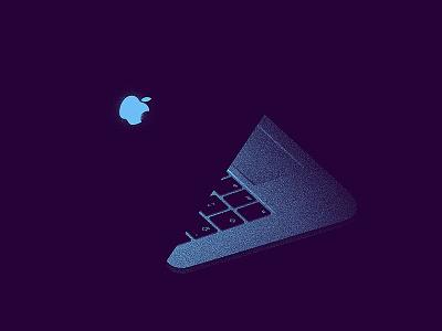 Still life illustration laptop apple realistic 2d anano texture light mac macbook