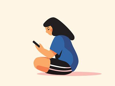 Scrolling sketch scroll phone flat anano 2d illustration illustator people girl