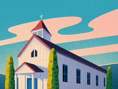 Halloween church usa building sky landscape church halloween dissolve flat 2d texture illustration anano