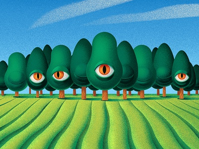 Tooth for an eye farm sky nature field surrealistic surrealist weird tree eye illustration texture anano