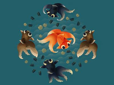 Goldfish ceramics antique chinese asia goldfish fish animal dissolve illustration texture anano