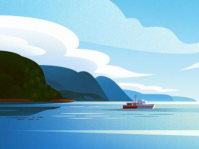 Landscape study design flat ocean sea yacht boat clouds dissolve landscape 2d texture illustration