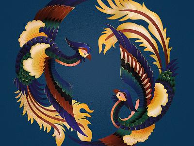 Phoenix decorative china feathers feather bird chinese animal flat illustration texture anano