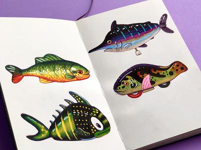 Sketchbook skeleton fish toy skeetch sketchbook behance cute illustration texture anano