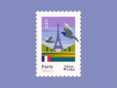 Paris 🕊 tower eiffeltower eiffel france paris stamp travel wedding vector adobe flat illustration texture anano