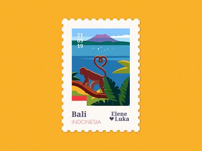 Bali 🐒 palms monkey bali stamp travel wedding vector adobe flat illustration texture anano
