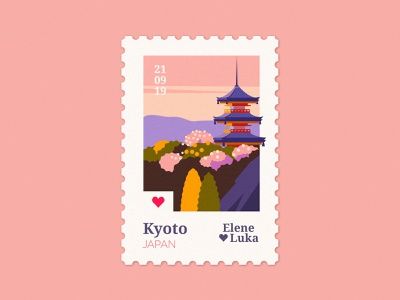 Kyoto 🇯🇵 post sky mountains kyoto japan stamp design stamps travel stamp flat illustration texture anano
