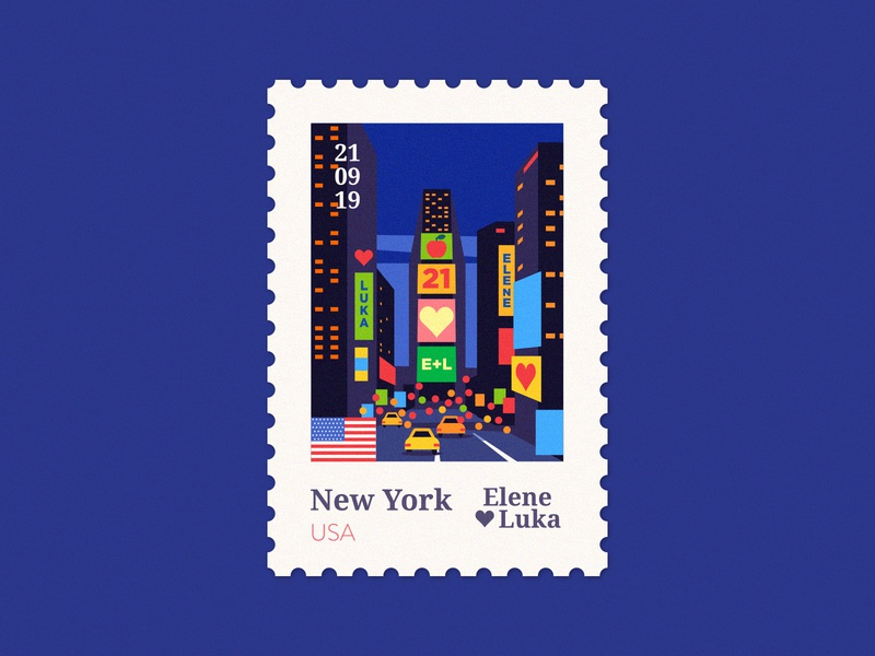 NY 🇺🇸 bigapple newyork usa ny poster stamp wedding vector design flat illustration texture anano