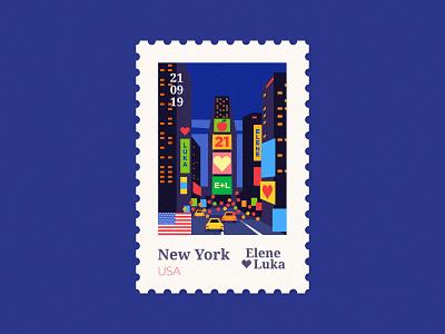 NY 🇺🇸 bigapple newyork usa ny poster stamp wedding vector design flat illustration texture anano