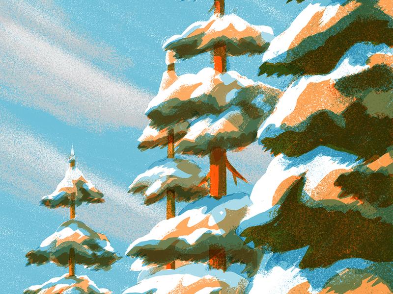 Winter sketch lanscape pinetree pine christmas blue sky snow trees winter texture illustration anano