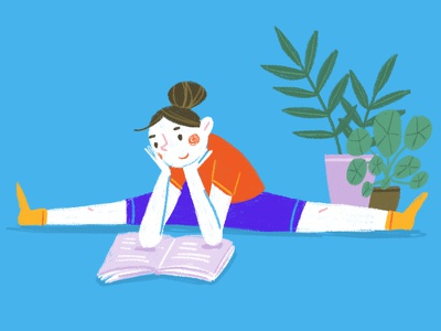 split reading home girl plants stretching workout illustration reading split splits