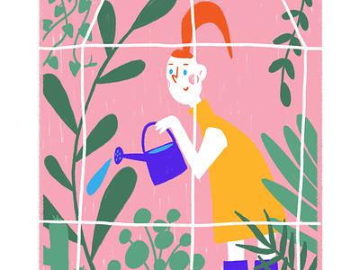 let it grow card illustration activity quarantine greenhouse indoor plants