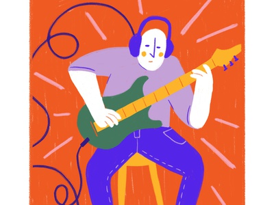 daily practice cartoon illustration practice playing play music guitar doodle