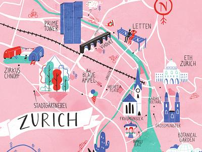 Zurich Map illustration map swizerland zurich illustratedmap inkymaps