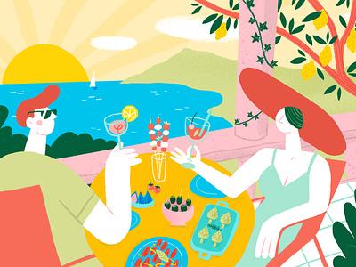 Apero date food italian snacks bites styleframe illustrator illustration amalfi cocktails summer italy aperitivo apero