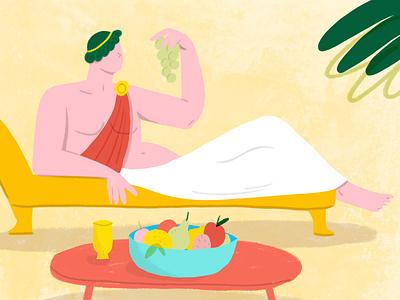 Roman snacking character illustration food fruit snack toga roman