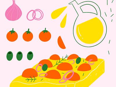 Italian focaccia cookbook aperitivo procreate illustration focaccia vegan environment recipe