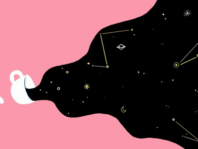 space coffee illustration daydream monday relax break universe space coffee