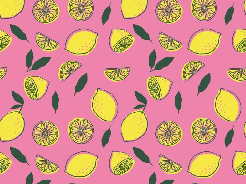Pink Lemonade illustrations summery fresh pattern design summer pink lemons illustration pattern