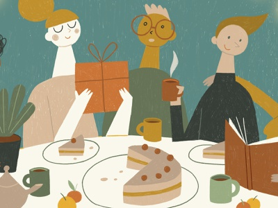 Tableful winter cozy tea cake handdrawn pastel friend friends christmas xmas greetings card celebrtion tableful friendship design cartoon animation illustration