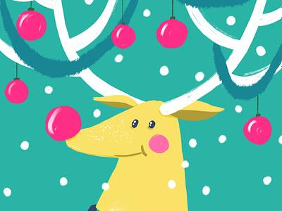 Rudolph raindeer cute cozy blushing merry xmas card illustration snow winter holiday greetings card rudolph xmas
