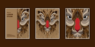 Tiger Head Vector Illustration Banners Templates