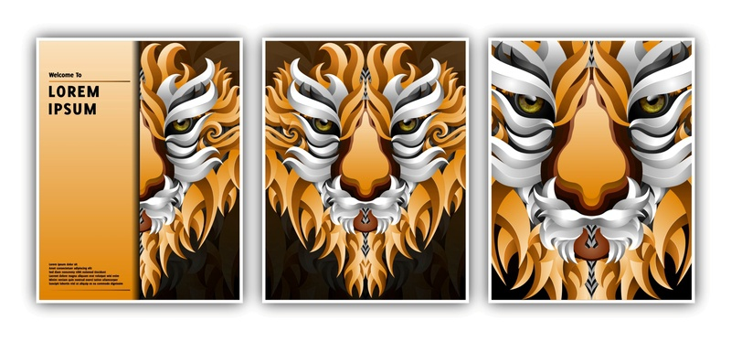 Vector Illustration Of Vector Illustration Banner Template With tiger logo animation icon gradient illustration branding design artwork artist art