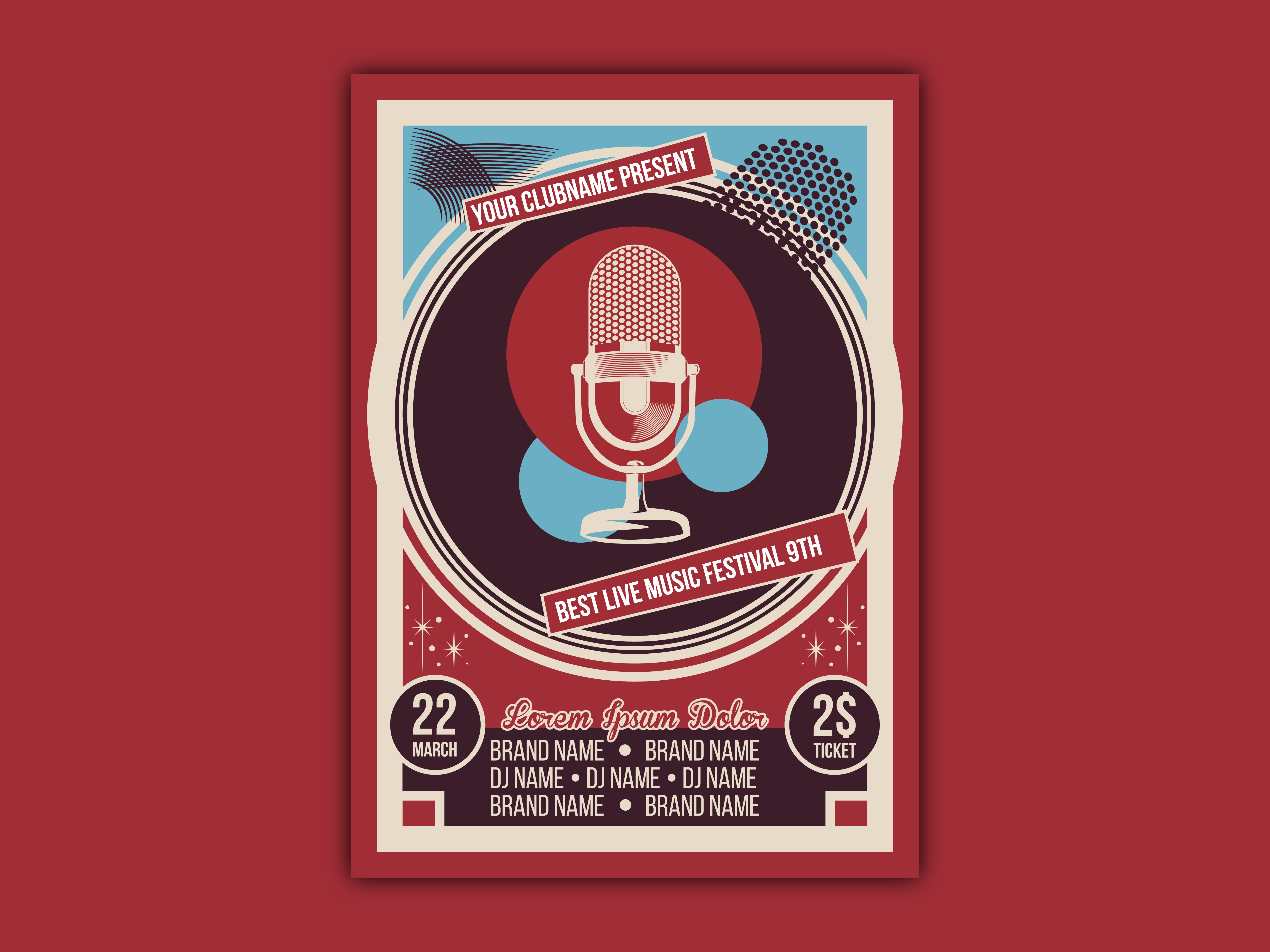 Vector of vintage music event poster template 01