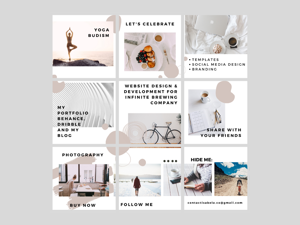 Mosaic for Instagram web templates socialmedia simple minimal instagram fotografia design clean canva branding mosaic