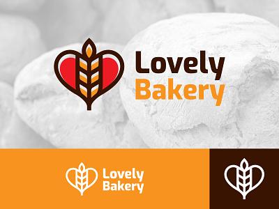 Lovely Bakery Logo Concept food shop breakfast eat lovely bold love wheat bakery bread brand illustration abstract logo logo design branding logo