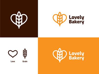Lovely Bakery Logo Concept minimal simple illustration brand bold elegant love logomark bakery bread wheat food eat logo design branding logo