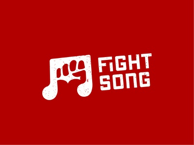 Fight Song Logo app abstract design brave music note note music punch fight fist hand illustration vintage abstract logo brand branding logo design logo