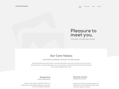 Foster Made - About page Wireframes