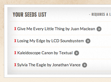 Working Seed List Display
