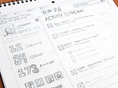 Activity Stream Sketch wireframe activity sonicseeds web app sketch sketchbook rough ui user interface ux user experience web design