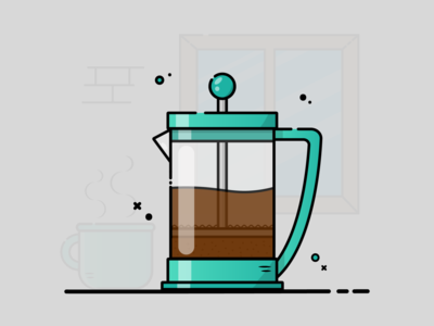 French Press coffee maker coffee french press artoftheday art vector flat vector flat illustration illustration