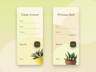 Sign in / Sign up UI for a plants online shop