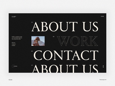CUSP© Menu type navigation menu minimal website webdesign web uxdesign ux uidesign ui typography minimalist minimalism design