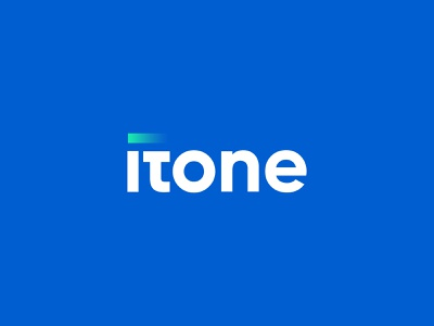 ITONE Logo brand identity design branding itlogo information techonology software company logo company techonology startup tech green blue logo one itone it