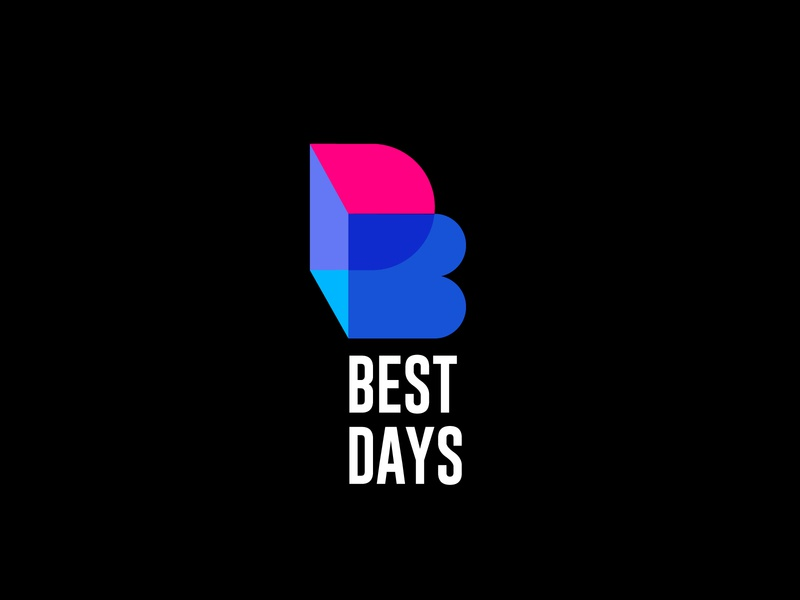 Best Days Logo stylish logo youtuber logo youtube channel logo blue pink colorful logo flat logo modern logo podcast logo