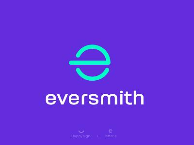 Eversmith logo concept fintechlogo saaslogo saasapplogo brandidentity branding icon flatlogodesign techlogo applogo flatlogo modern freen limegreen purple smithlogo elogo everyday eversmith