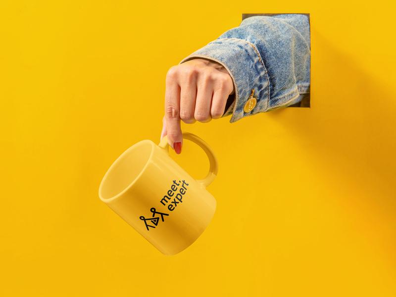 Meet Expert Mug Design branding agency meet expert logo tech logo brand identity design logo design branding logodesign logo logo mock up mug design mugmockup mockup black yellow
